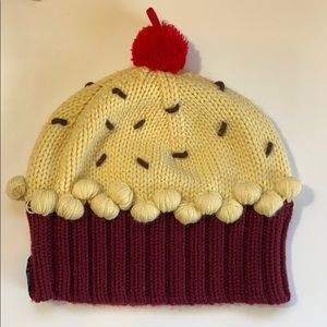 neff Velvet Cupcake Knit Hat with a Cherry on Top
